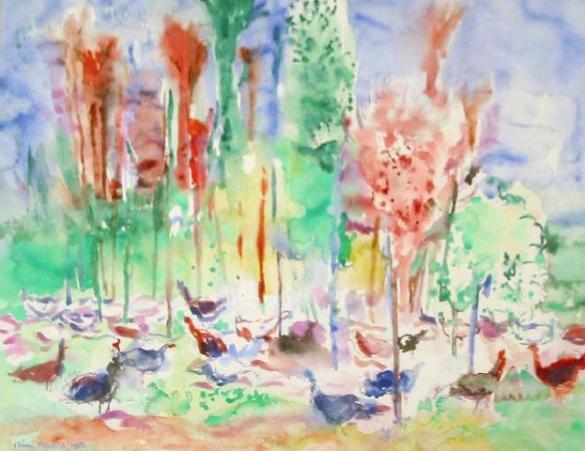 Afbeelding van het kunstwerk 'kalkoenenbos' van Rinny Reulink