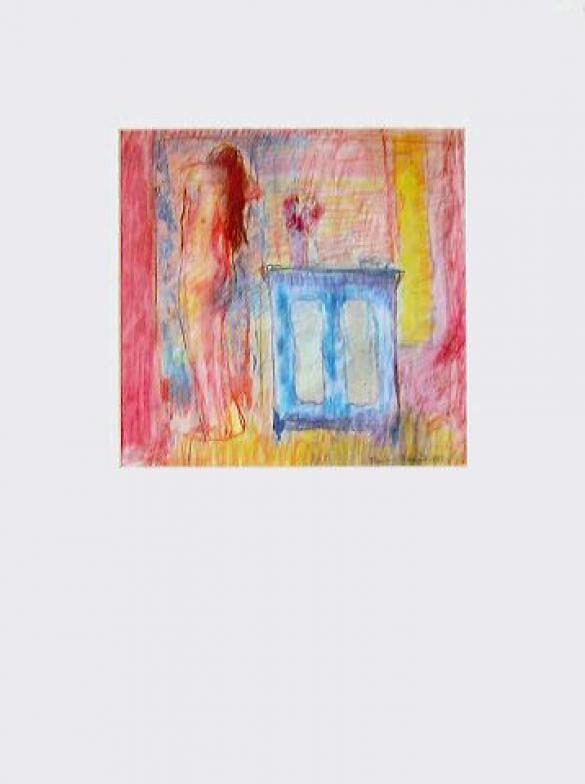 Afbeelding van het kunstwerk 'interieur blauw-rose' van Rinny Reulink