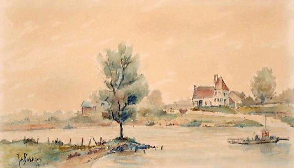 Afbeelding van het kunstwerk 'landschap aan de rivier' van Jits Bakker
