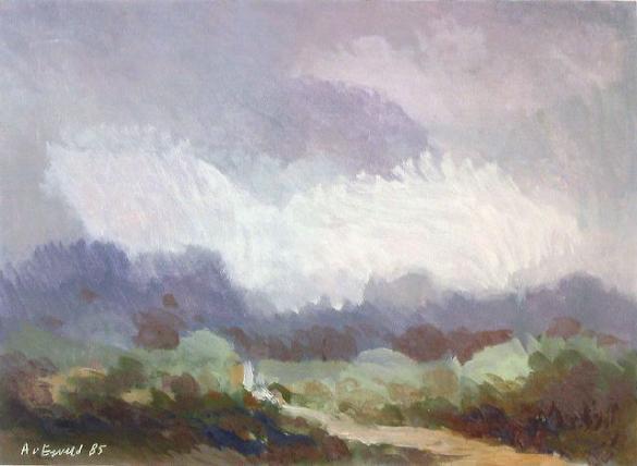 Afbeelding van het kunstwerk 'landschap met donkere lucht' van Adriaan van Esveld