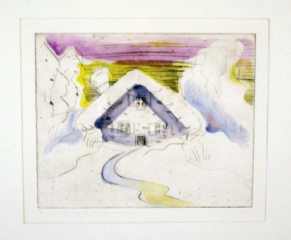 Afbeelding van het kunstwerk 'het besneeuwde huis' van R. Nijburg