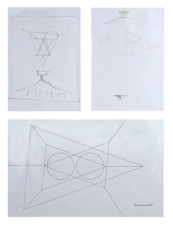 Afbeelding van het kunstwerk '3 schetsen in lijst' van Bas Maters