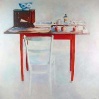 Afbeelding van het kunstwerk 'werktafel met 3 granaatappels' van Rinny Reulink