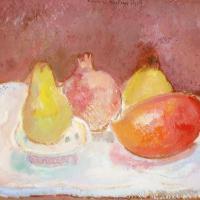 Afbeelding van het kunstwerk 'twee kweeperen, granaatappel en mango' van Rinny Reulink