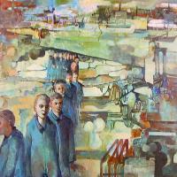 Afbeelding van het kunstwerk 'arbeiders in hun landschap' van Victor Linford