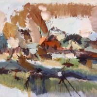 Afbeelding van het kunstwerk 'boerderij in herfst' van Marjon de Wit