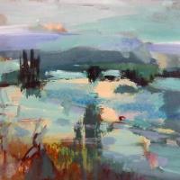 Afbeelding van het kunstwerk 'rivier met bomen in de Provence' van Marjon de Wit