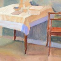 Afbeelding van het kunstwerk 'tafel in kleine kamer' van Adriaan van Esveld