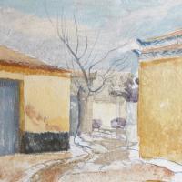 Afbeelding van het kunstwerk 'huisjes in Filiatra' van Adriaan van Esveld