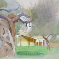Afbeelding van het kunstwerk 'olijfbomen met farm' van Adriaan van Esveld