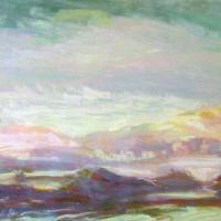 Afbeelding van het kunstwerk 'violette rotsen' van Adriaan van Esveld
