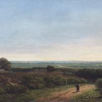 Afbeelding van het kunstwerk 'Landschap met wandelende man' van Onbekend
