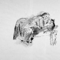 Afbeelding van het kunstwerk 'Anneke met twee katten' van Rinny Reulink
