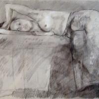 Afbeelding van het kunstwerk 'liggend halfnaakt' van Rinny Reulink