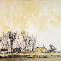 Afbeelding van het kunstwerk 'landschap met zon Voorst' van Rinny Reulink