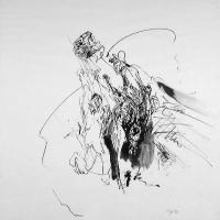Afbeelding van het kunstwerk 'man werpt steen' van Jan Vos