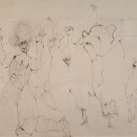 Afbeelding van het kunstwerk 'de kippen zijn los, papa' van Jan Budding