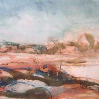Afbeelding van het kunstwerk 'rood landschap' van Adriaan van Esveld