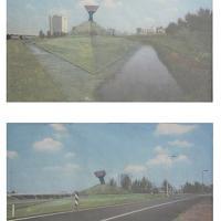 Afbeelding van het kunstwerk '2 ingekleurde fotoschetsen in lijst' van Bas Maters