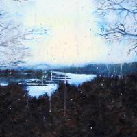 Afbeelding van het kunstwerk 'Rijn in de regen' van Cora van Antwerpen